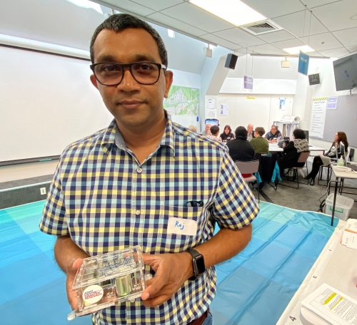 Raj Prassana with sensor at Lower Hutt workshop1