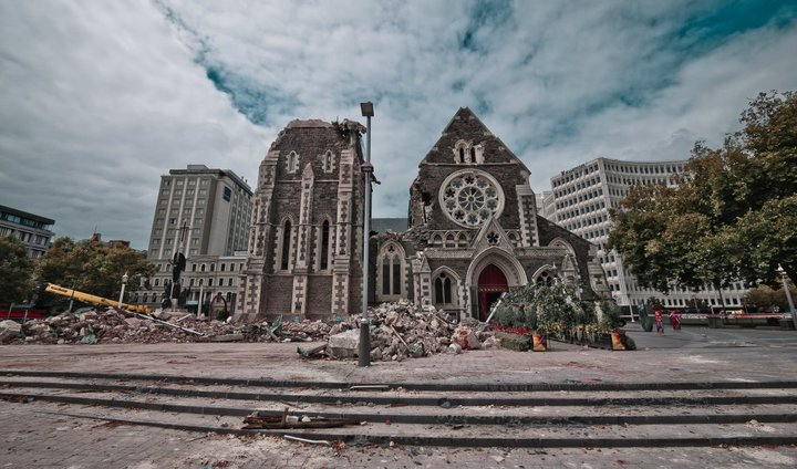 Christchurch cathedral after the earthquake