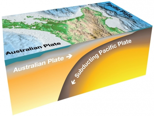 Hikurangi subduction zone where the Pacific tectonic plate subducts dives underneath the Australian tectonic plate. Image supplied by GNS Science